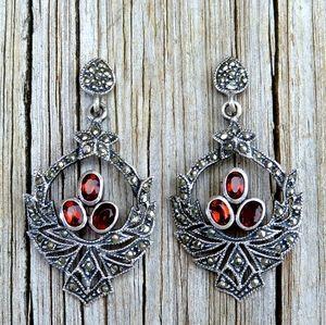 SOLDVintage 925 Garnet & Marcasite Gothic Earrings